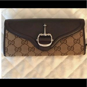 Authentic Gucci brown canvas wallet